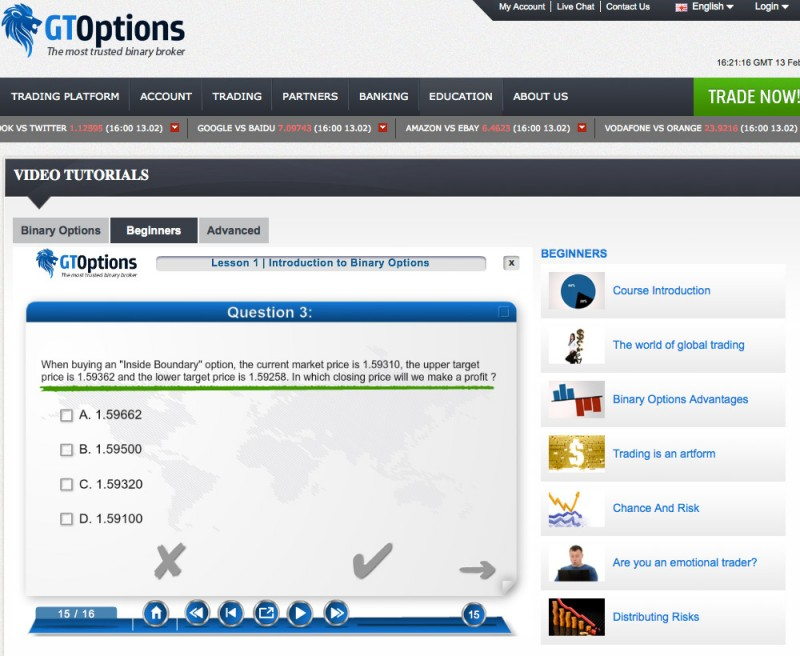 Example of option trading